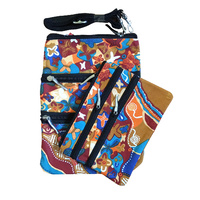 Jijaka Aboriginal Art 3 Zip Shoulder + matching Cosmetic Bag (Set 2) - Sound of Joy