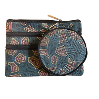 Yijan 3 Zip Cosmetic & Coin Purse Set - Women Travel Dreaming (Slate)