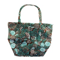 Jijaka Aboriginal Dot Art Canvas Shoulder Tote Bag - Riverstones (Turquoise)