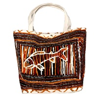 Better World Aboriginal Art Large Screen Printed Cotton Canvas Tote Bag - Muputi (Fish)