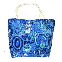 Better World Aboriginal Art Large Screen Printed Cotton Canvas Tote Bag - Pikilyi Jukurrpa