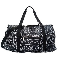 Yijan Aboriginal Fold Up Duffel Bag - Women's Ceremonial Place (Black)