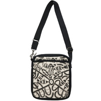 Outstations Aboriginal Art Cross Body Shoulder Bag - Seed Dreaming (Black)