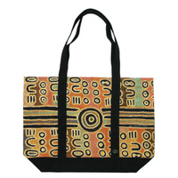 Outstations Canvas Tote Bag - Biddy Timms (Tan/Black)