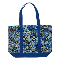 Outstations Aboriginal Art Canvas Tote Bag - Bush Coconut (Blue)