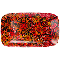 Warlukurlangu Aboriginal Art Fine Bone China Platter - Emu Dreaming