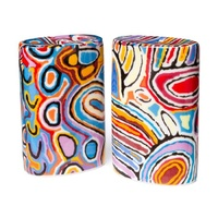 Warlukurlangu Aboriginal Art Fine Bone China Salt n Pepper Shakers - Mina Mina Dreaming Blue