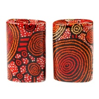 Warlukurlangu Aboriginal Art Fine Bone China Salt n Pepper Shakers - Emu Dreaming