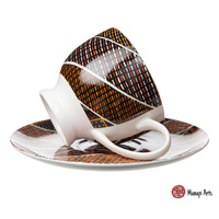 Munupi Aboriginal Art Fine Bone China Tea Cup & Saucer Set - Jillara Design