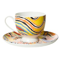 Warlukurlangu Aboriginal Art Bone China Tea Cup & Saucer Set - Mina Mina Dreaming