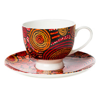 Warlukurlangu Aboriginal Art Fine Bone China Tea Cup & Saucer Set - Emu Dreaming