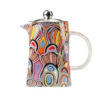 Warlukurlangu Aboriginal Art Fine Bone China Teapot - Mina Mina Dreaming (Blue)