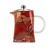 Warlukurlangu Aboriginal Art Fine Bone China Teapot - Emu Dreaming