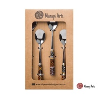 Munupi Aboriginal Art Porcelain Teaspoon Set (4) - Jilamara Design