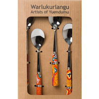 Warlukurlangu Porcelain Teaspoon Set (4) - Green Budgerigar Dreaming