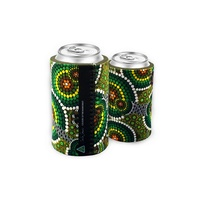 Bunabiri Aboriginal Art Can Cooler - Green Hands