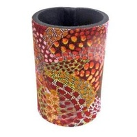 Utopia Aboriginal Art Neoprene Can Cooler - Fire Sparks Red
