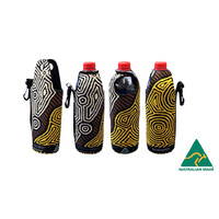 Bunabiri Aboriginal Art Neoprene Water Bottle Cooler - Fire Country Dreaming