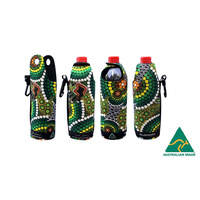 Bunabiri Aboriginal Art Neoprene Water Bottle Cooler - Colours of the Rainforest