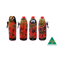 Bunabiri Aboriginal Art Neoprene Water Bottle Cooler - Hunters & Gatherers Land