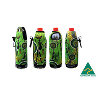 Bunabiri Aboriginal Art Neoprene Water Bottle Cooler - Hunters & Gatherers Rainforest