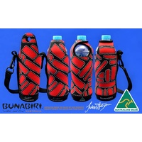 Bunabiri Aboriginal Art Neoprene Water Bottle Cooler - Camp Grounds
