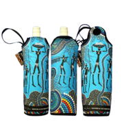 Bunabiri Aboriginal Art Neoprene Wine Bottle Cooler - Hunters N Gatherers Reef