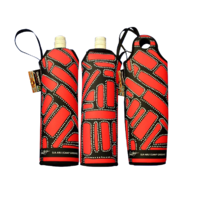 Bunabiri Aboriginal Art Neoprene Wine Bottle Cooler - Camp Ground
