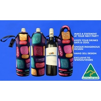 Bunabiri Aboriginal Art Neoprene Wine Bottle Cooler - Water Forest Country