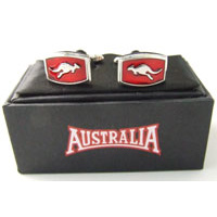 Australia Brand Cufflinks - Red Kangaroo (Rectangle Shape)