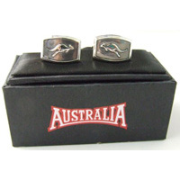 Australia Brand Cufflinks - Silver Kangaroo (Rectangle Shape)