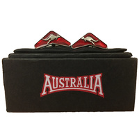 Australia Brand Cufflinks - Boomerang Shape with Kangaroo (Red)