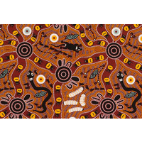 Bulurru Aboriginal Art (2m) Fabric Pack - Bush Tucker (Red)