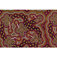 Bulurru Aboriginal Art (2m) Fabric Pack - On Walkabout (Wine)