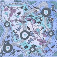 Running Possum Vine [Blue] - Aboriginal design Fabric