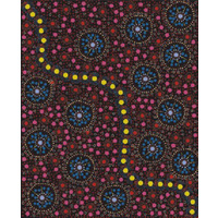 Dreamtime Flowers (Black) SCRAP 0.7M - Aboriginal design Fabric