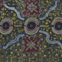 Dreamtime Knowledge [Blue] SCRAP 1.8M - Aboriginal design Fabric