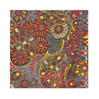 Bush Tucker After Rain (Red) [SCRAP 0.65M]- Aboriginal design Fabric