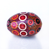 Better World Aboriginal Art Handpainted Decorative Lacquered Egg & Stand - Walka