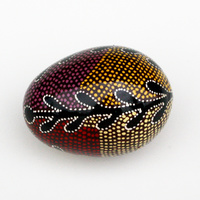 Better World Aboriginal Art Handpainted Decorative Lacquered Egg & Stand - Snake Vine Dreaming