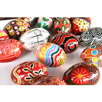 Better World Aboriginal Art Handpainted Decorative Lacquered Egg & Stand