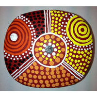 Keringke Aboriginal Art Lacquered Ring Dish (Rectangle Shaped)