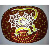 Tobwabba Aboriginal Lacquered Ring Dish - Frilled Neck Lizard Resting Place