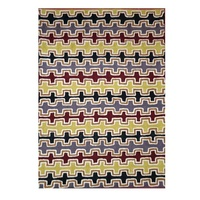Aboriginal Art Handmade Rug (Chainstitched) (72cm x 120cm)  - Warlukurlangu Art (Black) by Gloria Gill