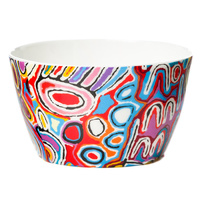 Warlukurlangu China Nut Bowl - Mina Mina Dreaming (Blue)
