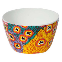 Warlukurlangu China Nut Bowl - Green Budgerigar Dreaming