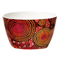 Warlukurlangu Aboriginal Art China Nut Bowl - Emu Dreaming