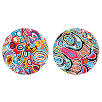 Warlukurlangu Ceramic Coaster Set (2) - Mina Mina Dreaming (Blue)