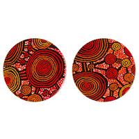 Warlukurlangu Aboriginal Art Ceramic Coaster Set (2) - Emu Dreaming