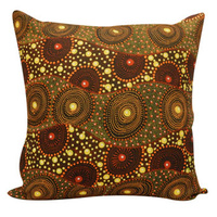 Rat Tail Plant - Utopia Aboriginal Art Poly -Linen Cushion Cover (45cm x 45cm)